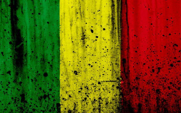 Download wallpapers Malian flag, 4k, grunge, flag of Mali, Africa, Mali, national symbols, Mali national flag