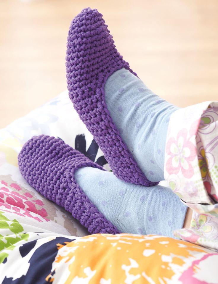 Knitting Slippers For Charity : Yarnspirations bernat easy family slippers
