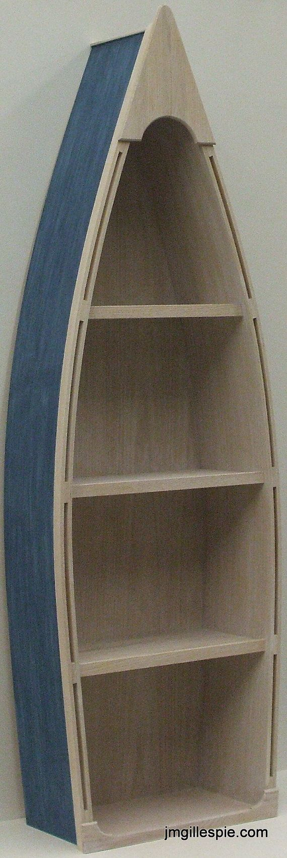 5 Foot blue row Boat Bookshelf Bookcase shelves skiff schooner canoe shelf nautical man cave Dorey kids room