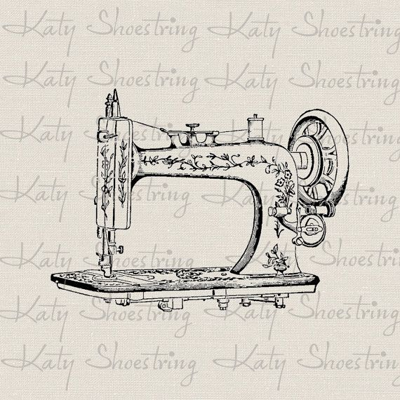 Vintage Sewing Machine Printable Digital Image Fabric Transfer To Burlap Paper Crafts Pillows Tea Towels Totes