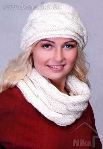 Вязаная шапка и шарф-хомут