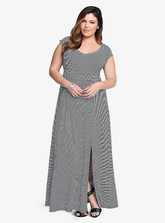 478a9baa4d Torrid Women s Striped V-Neck Maxi Dress Plus Size 4 Black   White  Sleeveless 88  Torrid  MaxiDress  Casual