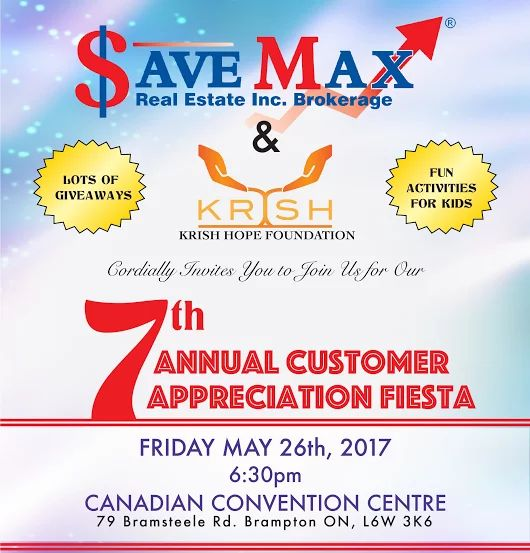 !! EXCELLENT OPPORTUNITY TO GET EXPOSURE FOR YOUR BUSINESS !!  If you're looking to become one of the sponsors at the biggest event of Toronto (gathering of 2500-3000 people), please contact us today at 905.459.7900 or email info@savemax.ca.