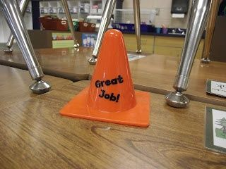 "Give student the  ""Great Job"" traffic cone (or something else) after an activity, then tell the student it is their responsibility to pass it on to another student.  Builds a positive classroom environment and encourages students to look for positive qualities in their peers."