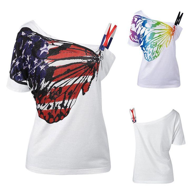 Fashion Women T Shirts Skew Collar Butterfly Print Basic Tshirt European Style Tops New Summer Plus Size Woman Tees #Affiliate