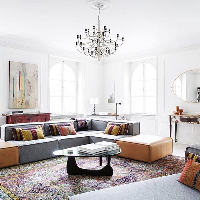 Another amazing apartment for sale in Sweden and another amazing Carmo sofa :: this one in light grey felt and caramel leather  Regram @eklundstockholmnewyork #boconcept #boconceptathome #carmosofa #interiordesign