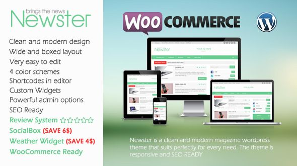 Newster is a clean and modern Responsive design WordPress Magazine Theme.