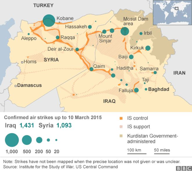 Map showing US-led air strikes against IS positions