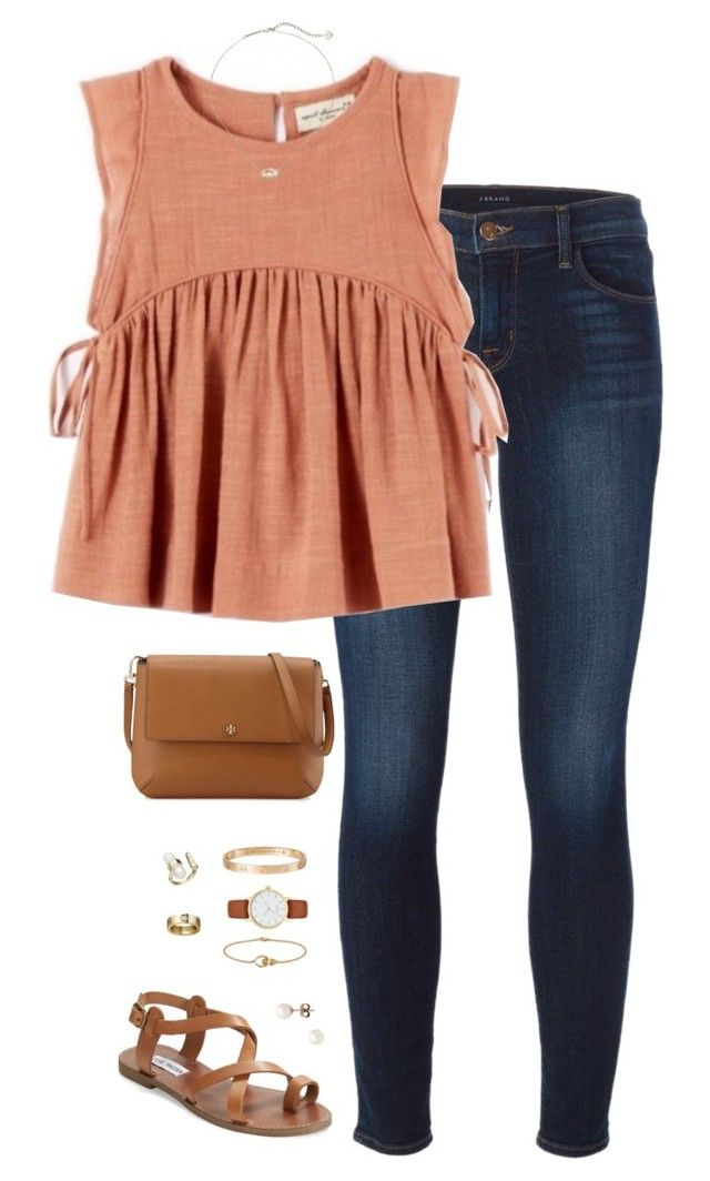 """""""peachy"""" by tessorastefan ❤ liked on Polyvore featuring J Brand, Kendra Scott, Steve Madden, J.Crew, Tory Burch, Cartier and Kate Spade"""