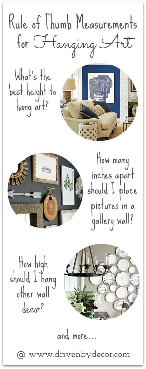Super helpful tips for hanging art in your home.