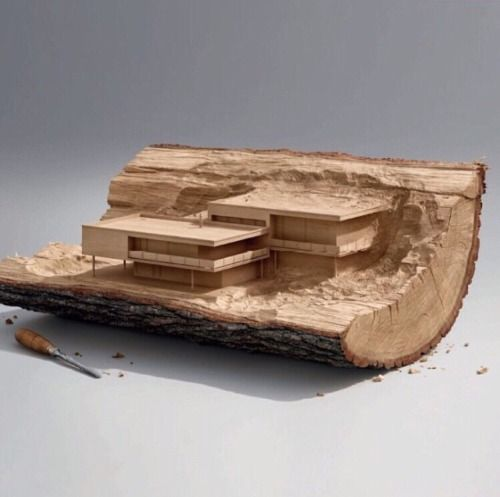 Timber architecture concept model, carved from a solid timber log.  #architecture  Pinned by www.modlar.com