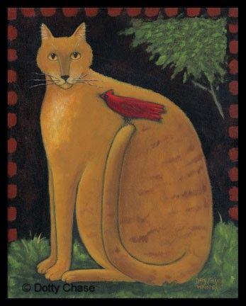 Dotty Chase - American Folk Artist viewing Fruity Cat print