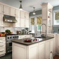 Contemporary Kitchen, white cabinets, impala black granite countertops,  grey limestone backsplash, mosaic