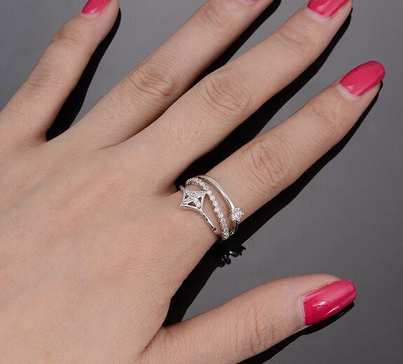 Iyoe бижутерии белый позолоченные регулируемые женщины кольца с AAA кубический цирконий летний стиль миди кулака палец кольцо оптовая продажа.
