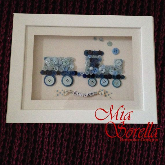 Bespoke Personalised Blue Train Button Picture Baby Shower New Baby Gift