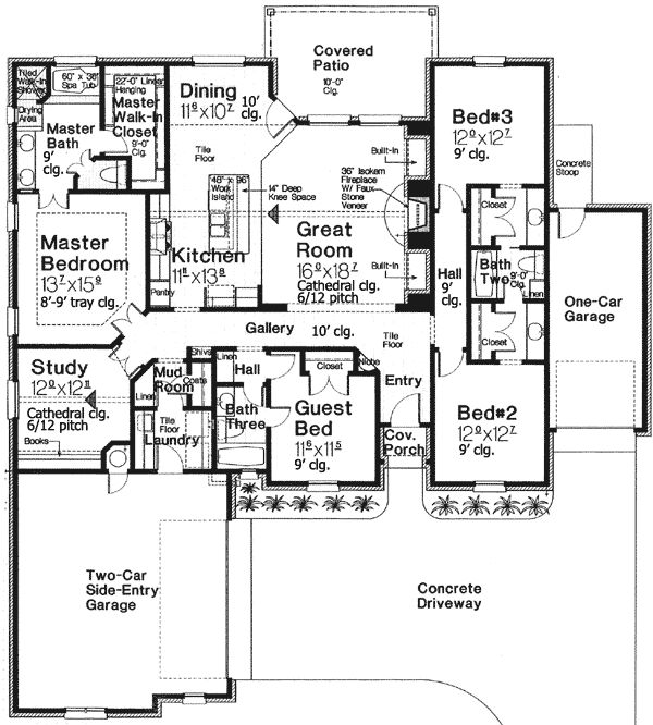 Plan 48357FM: Cathedral Ceilings
