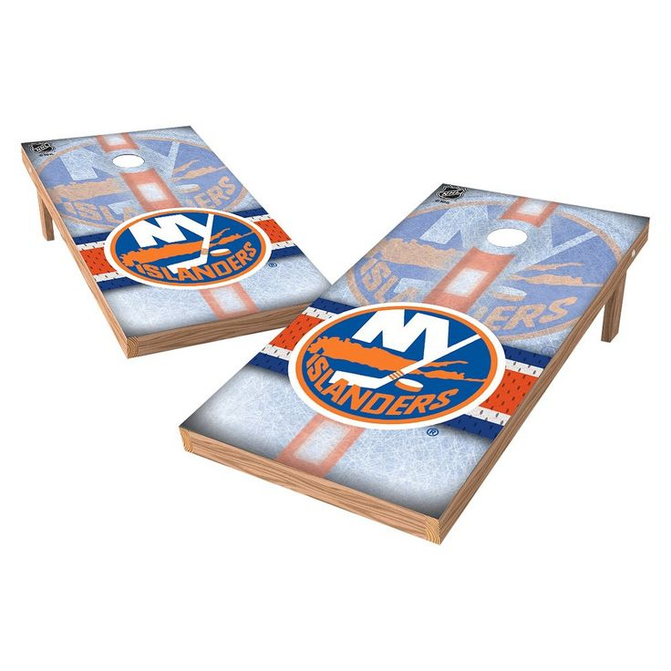 NHL Wild Sports Shield Cornhole Bag Toss Set - 2x4 ft. - New York Islanders