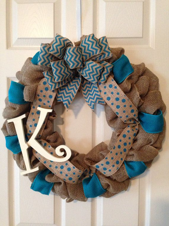 CHEVRON BURLAP WREATH with Initial, Chevron Burlap and Polka Dot Wreath, Wedding Gift, Nursery Burlap Wreath , Front Door Wreath, on Etsy, $65.00