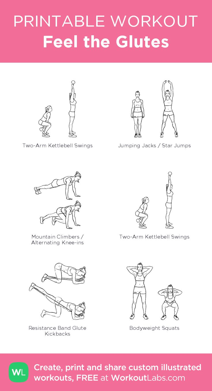 Feel the Glutes– my custom exercise plan created at WorkoutLabs.com • Click through to download as a printable workout PDF #customworkout