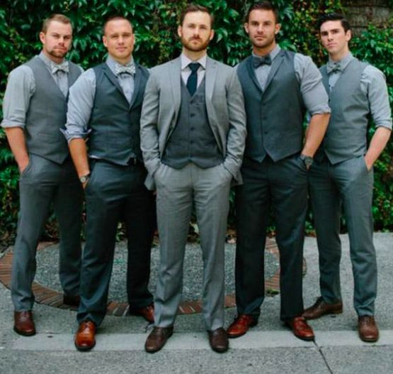 different but coordinating groomsmen and groom