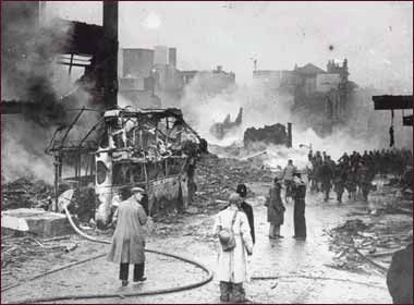 Broadgate after an air raid.  Coventry, England was repeatedly bombed during the German Blitzes of 1940-41.  The worst night was Nov. 14th, 1940 when 500 tons of explosive and 900 incendiaries fell on the city.  This is the city the morning after.