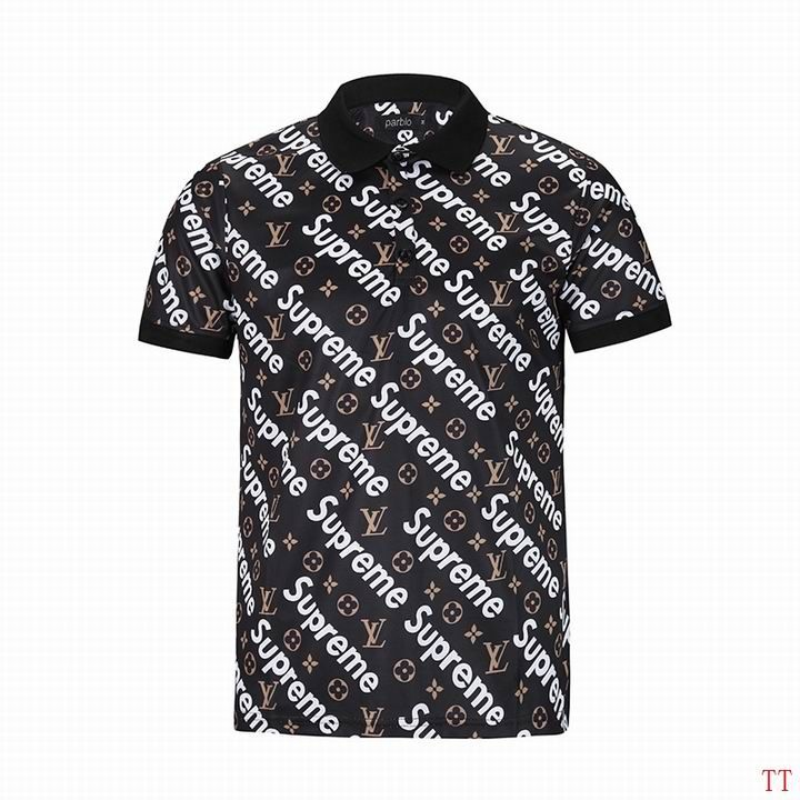 001ae51a8 Supreme Lapel T-shirt Black White. men's Louis Vuitton POLO shirts-LV15813