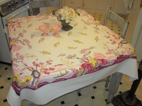 Vintage Asian Tablecloth Cherry Blossoms by the by unclebunkstrunk