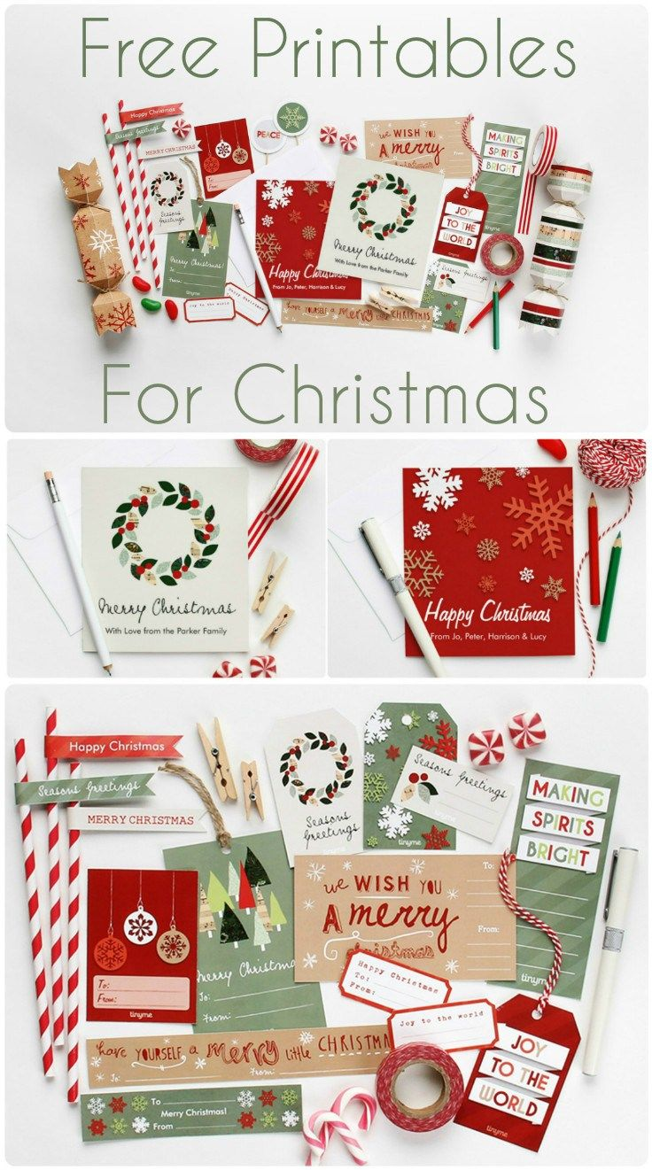 huge set of free Christmas printables to make your own gift tags, christmas crackers, Christmas garland decoration and festive dessert toppers