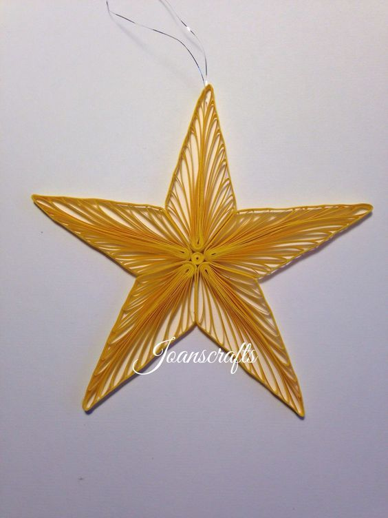 This is my Star Ornament design from 2008 when I had a website under the name of notjustquilling. Quilled in a bright yellow paper it is 5 from point to point.  This is the perfect ornament for your Christmas Tree or for a friends tree.  As with all my designs it will arrive in its own box for stor