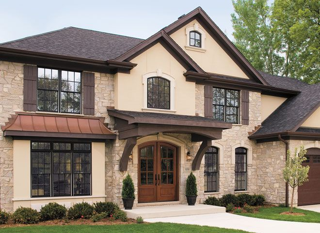 Pella Proline Windows Wood Windows And Stucco Window Trim Black Window Wood Door
