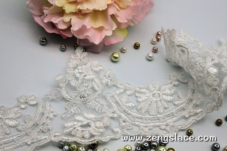 Ivory Alencon lace trim with floral patterns embroidered, wedding lace, bridal lace, 4 1/4 inches wide, AL-5