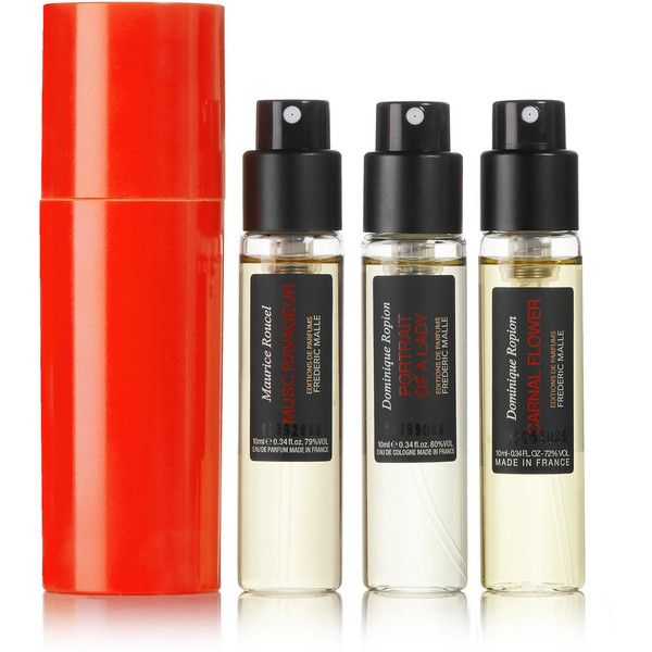 Frederic Malle Travel Spray Set, 3 x 10ml (£120) ❤ liked on Polyvore featuring beauty products, fragrance, blossom perfume, flower perfume, spray perfume, mist perfume and frederic malle perfume