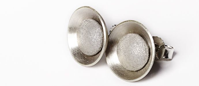 """Selene"" studs, made from small silver bowls and reflective fabric"