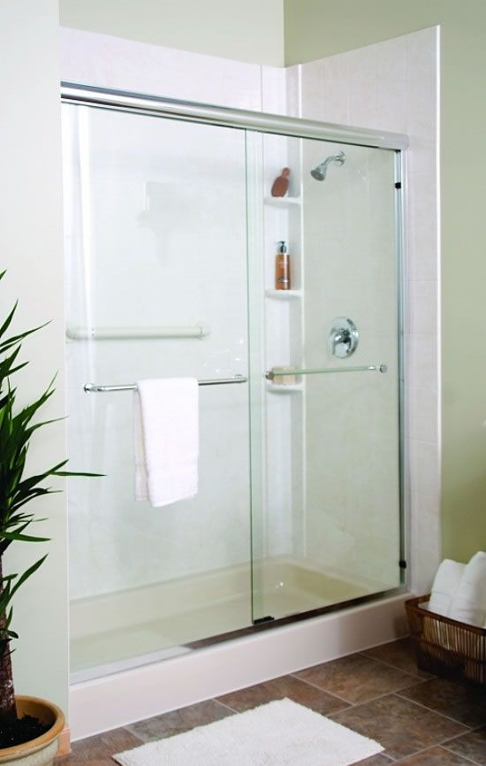 Walk in shower with sliding glass shower door white pan Sliding glass shower doors
