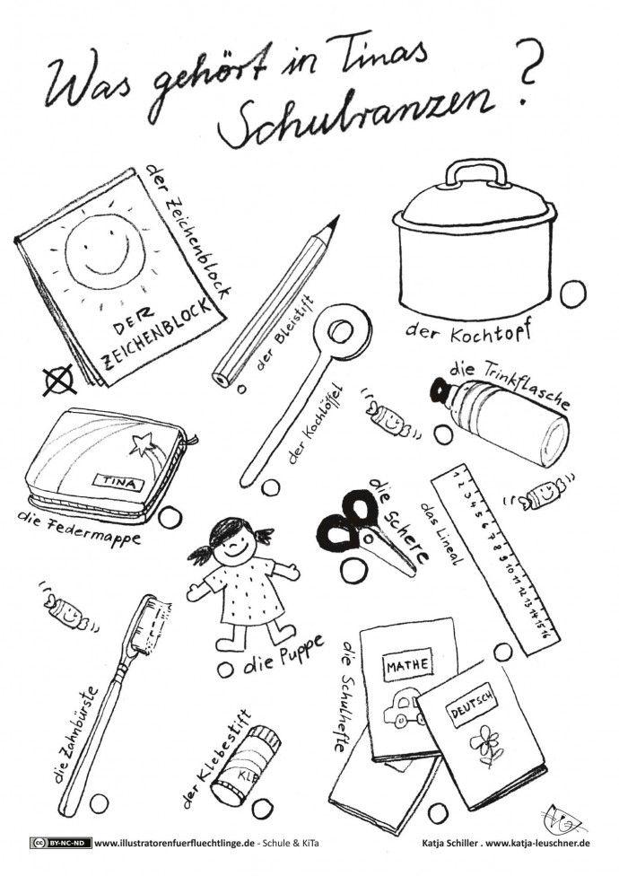 Schule und KiTa - Schreibzeug Schulranzen Rätsel - Schiller