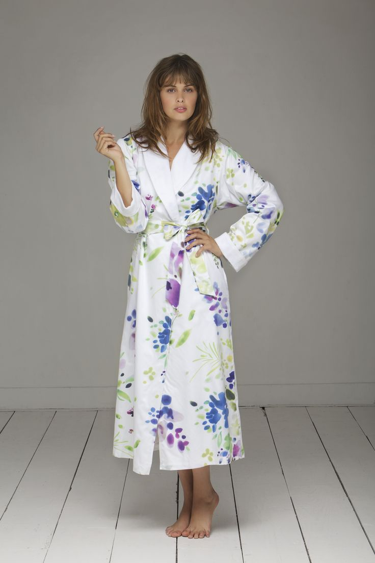 Christian Fischbacher bath collection. Comfortable luxurious robe made out of high quality Swiss Satin Fabric. MIDSUMMER DAY