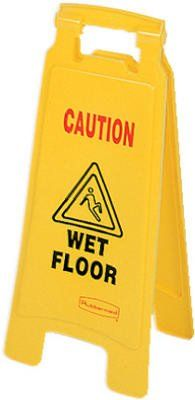 Rubbermaid Comm Prod 6112-77-YEL Caution Wet Floor Sign  Bright yellow plastic wet floor sign can be read from far away2-sided sign is ideal for doorways and narrow spaces - ANSI- and OSHA compliant color and graphicsFolds flat for storage or transport carts  http://industrialsupply.mobi/shop/rubbermaid-comm-prod-6112-77-yel-caution-wet-floor-sign/