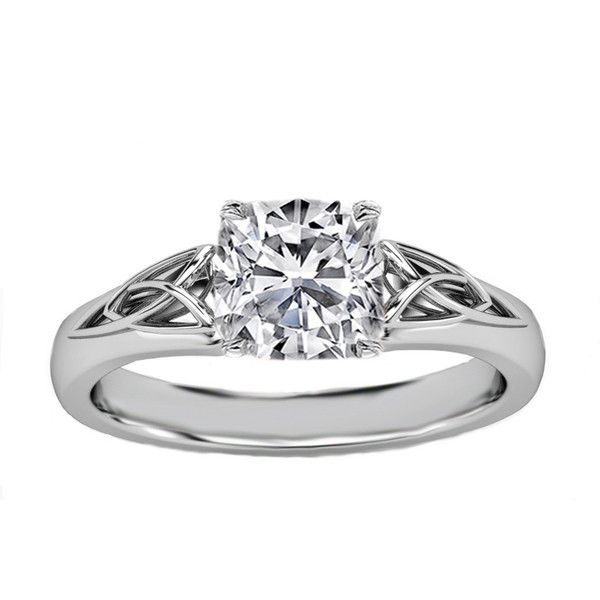 Engagement Ring - Cushion Diamond Triquetra Celtic Engagement Ring in...