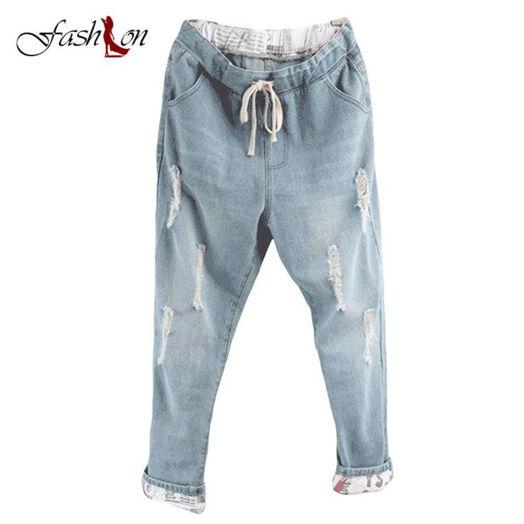 Mid Elastic Waist Cotton Straight Pants Blue Fashion Ripped Jeans for Women Plus Size Boyfriend Jeans for Women Pant Loose Denim