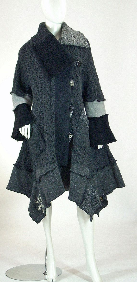 Sweater Coat in Charcoal and Black Size XL 1618 by Brendaabdullah