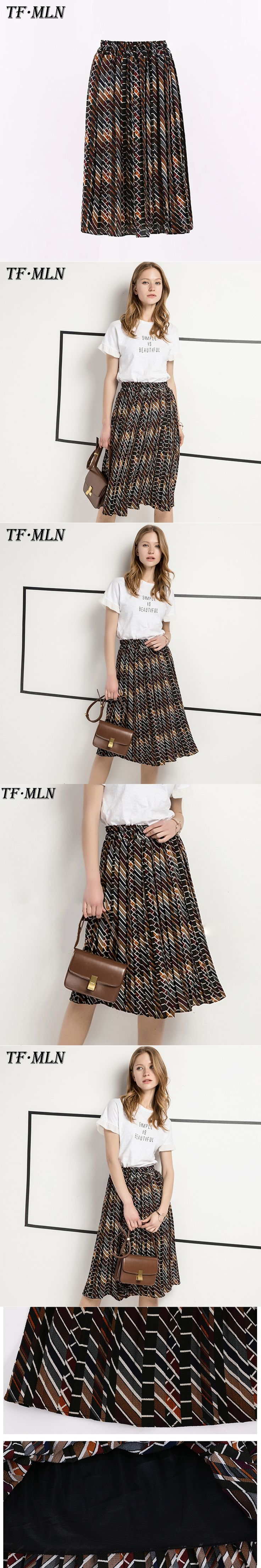 TFMLN 2017 Spring Autumn And Winter skirts womens saia faldas mujer skirt jupe saias stretch thin female Fashion Chiffon skirts