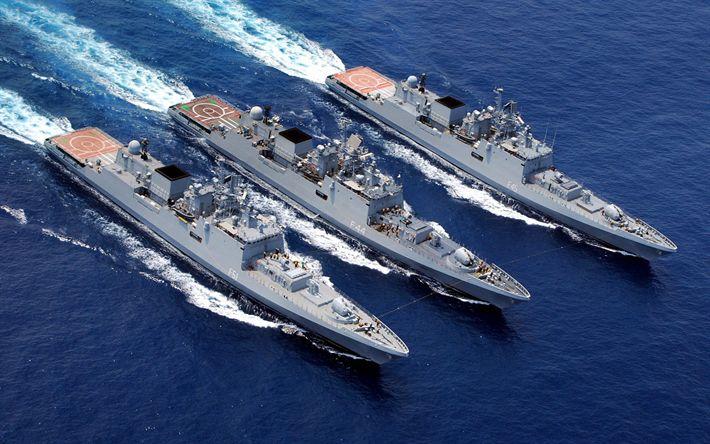 Download wallpapers INS Trikand, F51, INS Talwar, F40, INS F40 Tabar, Talwar-class frigate, Military ships, Indian frigates, Indian Navy
