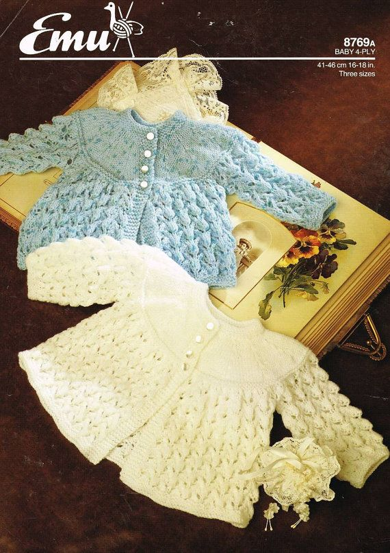 Emu 8769 vintage baby matinee coat for premature sizes 4ply