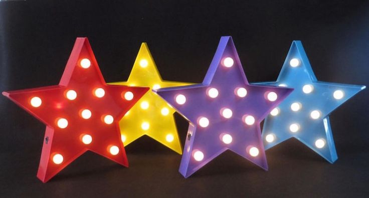 Carnival light up stars in blue, red, yellow, quirky retro, vintage cool lighting for the home and look great on kids bedroom walls. A unique  Christening presents and gifts for birthdays and Christmas