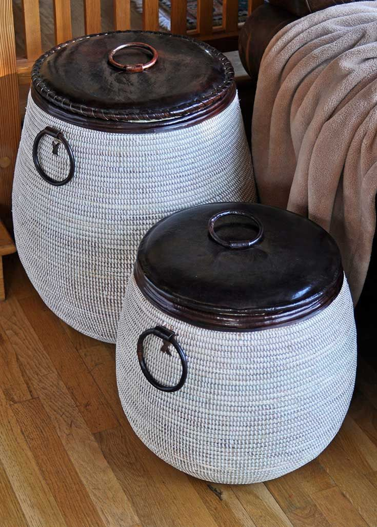 Leather lidded senegal basket africans leather and display shelves - High end laundry hamper ...