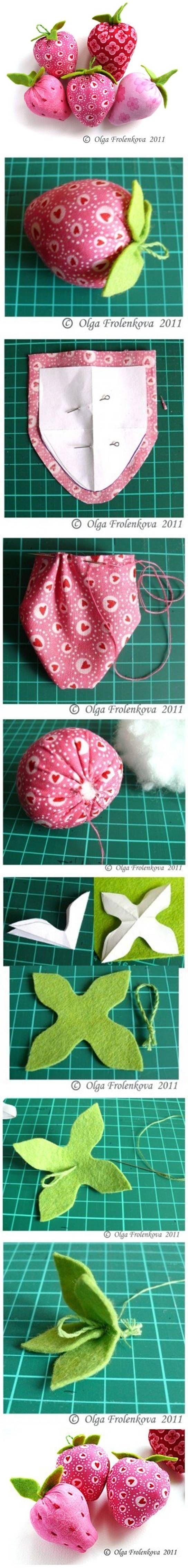 DIY Sew Fabric Strawberry via usefuldiy.com