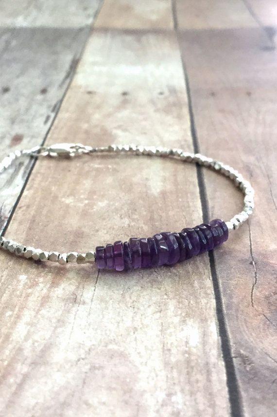 Amethyst Bracelet Hill Tribe Silver Bead Jewelry by GemsByKelley