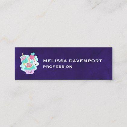 Niedlicher kleiner Kuchen und glückliche Eiscreme Mini Visitenkarte   – business templates