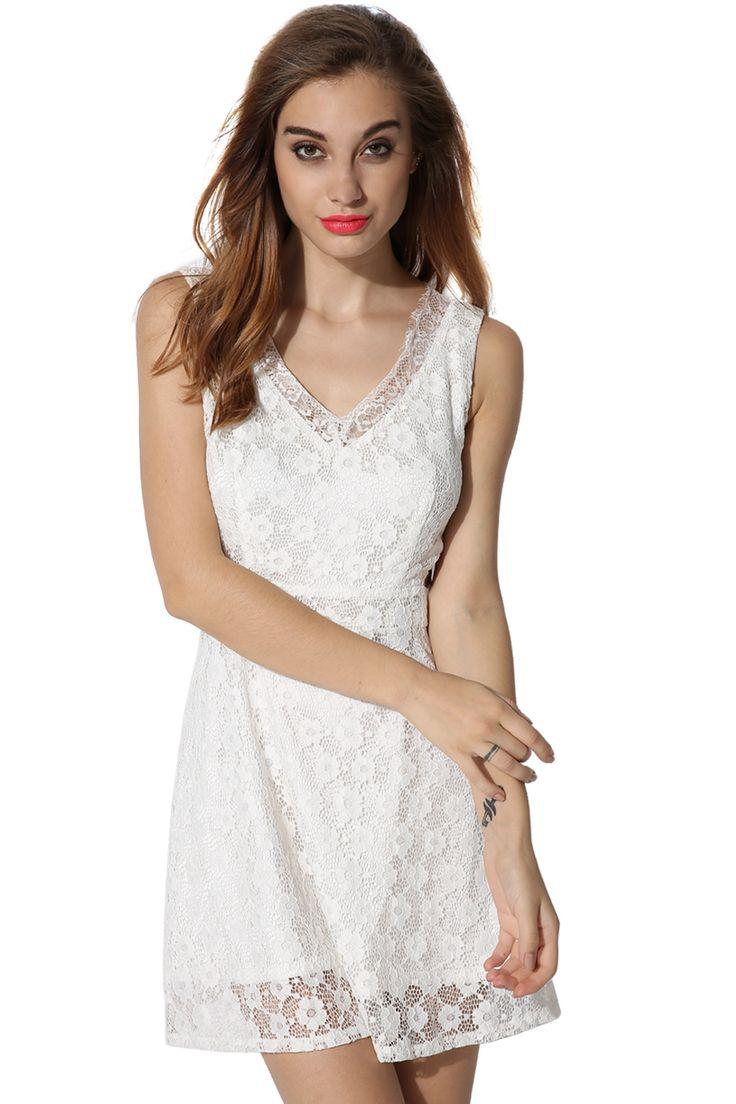 White Sexy Ladies Women V-neck Sleeveless Waist Hollow Party Going Out Wedding & Bridesmaid Dresses