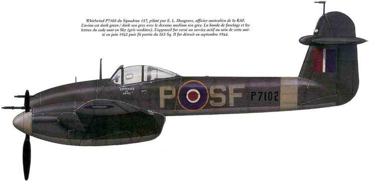 """Whirlwind Mk.I """"Comrades in Arms"""".SF-P (P7102).137 Sqn RAF/Пилот - Е.Л.Мусгрейв (австралийский офицер в ВВС Великобритании) Самолет был уничтожен в сентябре 1944 г."""